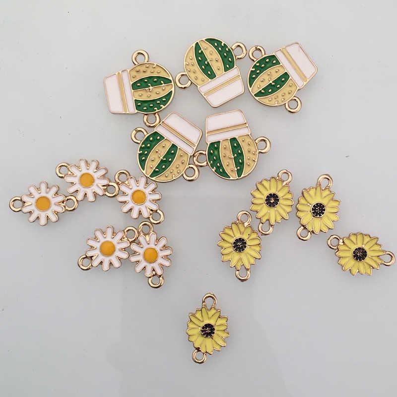 ขายส่งมิตรภาพเครื่องประดับ DIY ทำผู้หญิง Succulents แคคตัสพิมพ์ดอกทานตะวัน Daisy ดอกไม้จี้ Charms อุปกรณ์เสริม