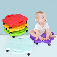 Children Scooter Board Handled Scooter Seat With Swivel Casters Plastic Scooter Board Kids Safety Outdoor Balance Training Toys
