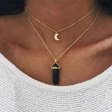fashion vintage black eclipse necklace women long chain celestial moon crescent pendant necklace jewelry accessories party dress x291 Fashion Jewelry Natural Black White Stone Choker Necklace Women Gold Color Moon Crescent Pendant Multi-layer Necklace