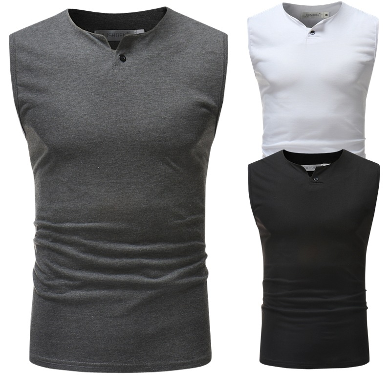 New Style Men's Solid Color Sleeveless Vest Summer Men Casual Sports Sweat Absorbing Vest