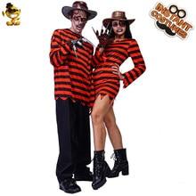 Costume d'horreur Cosplay pour Couples adultes, Costume de carnaval, déguisement de carnaval, tueur effrayant, rayé rouge et noir