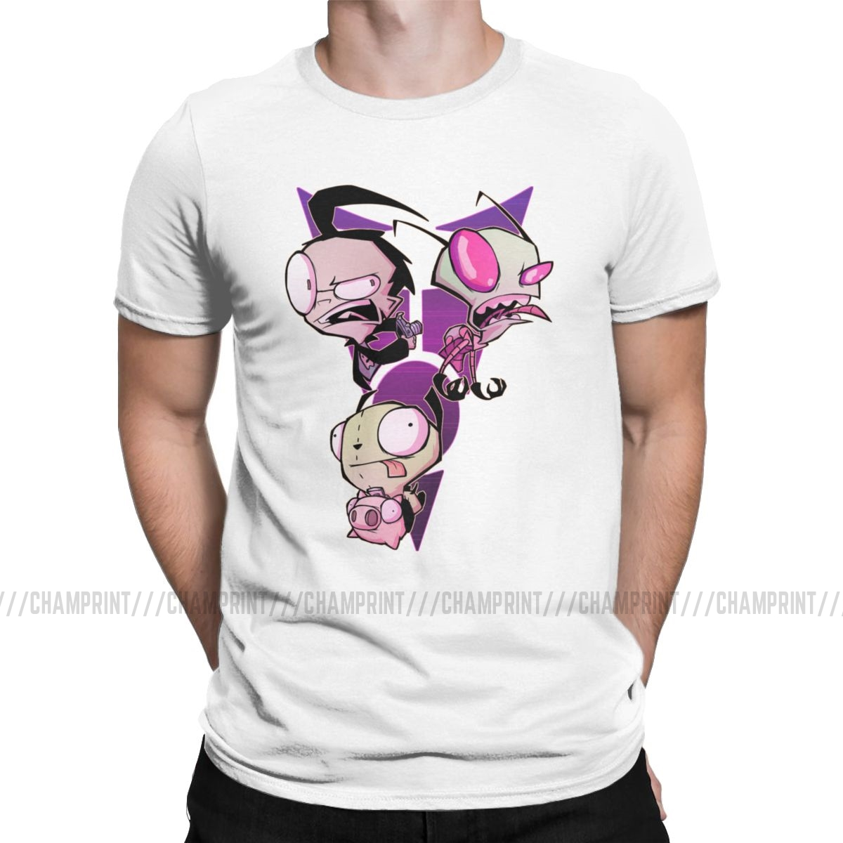 Funny Invader ZIM Alien Cartoon T-Shirt For Men Crew Neck Cotton T Shirts Short Sleeve Tee Shirt Printed Clothes
