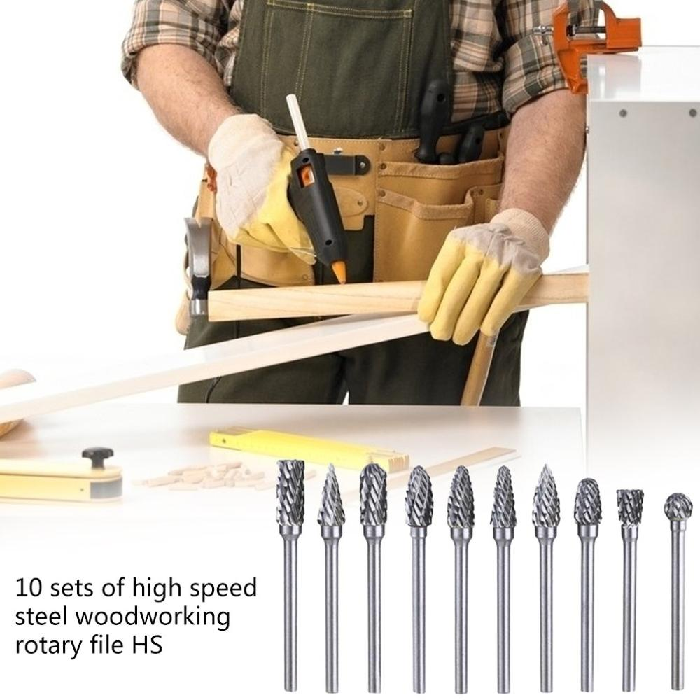 10 Piece Set Of High Speed Steel Electric Grinder Grinding Head Woodworking Rotary File Milling Cutter Carving Knife