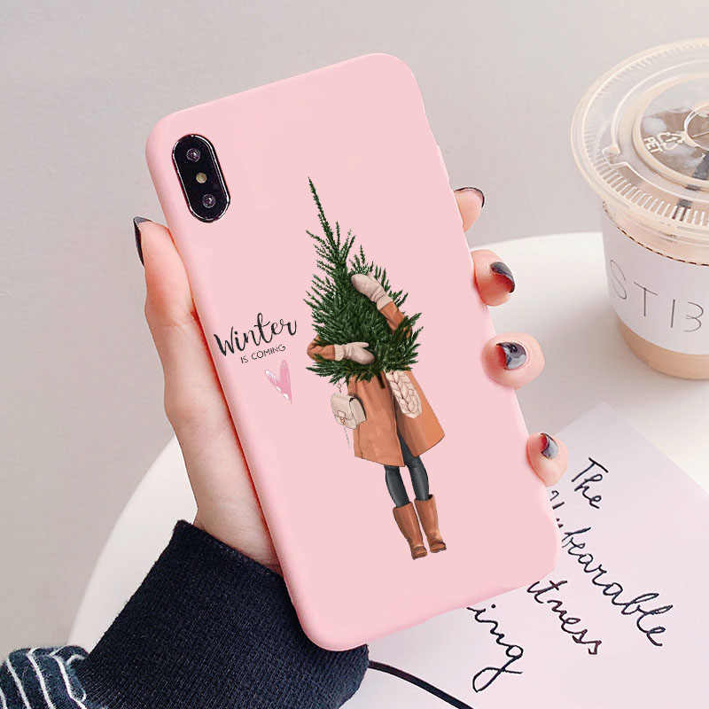 Christmas Princess Girl Candy Pink Silicone Case Cover  for iPhone 11 11PRO MAX X 5 5S 6 6SPlus 7 8 Plus XR XS MAX