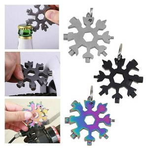 18 In 1 Snowflake Multi Camp Key Ring Outdoor Spanner Survive Hex Wrench Pocket Tool Multipurpose Hike Keyring