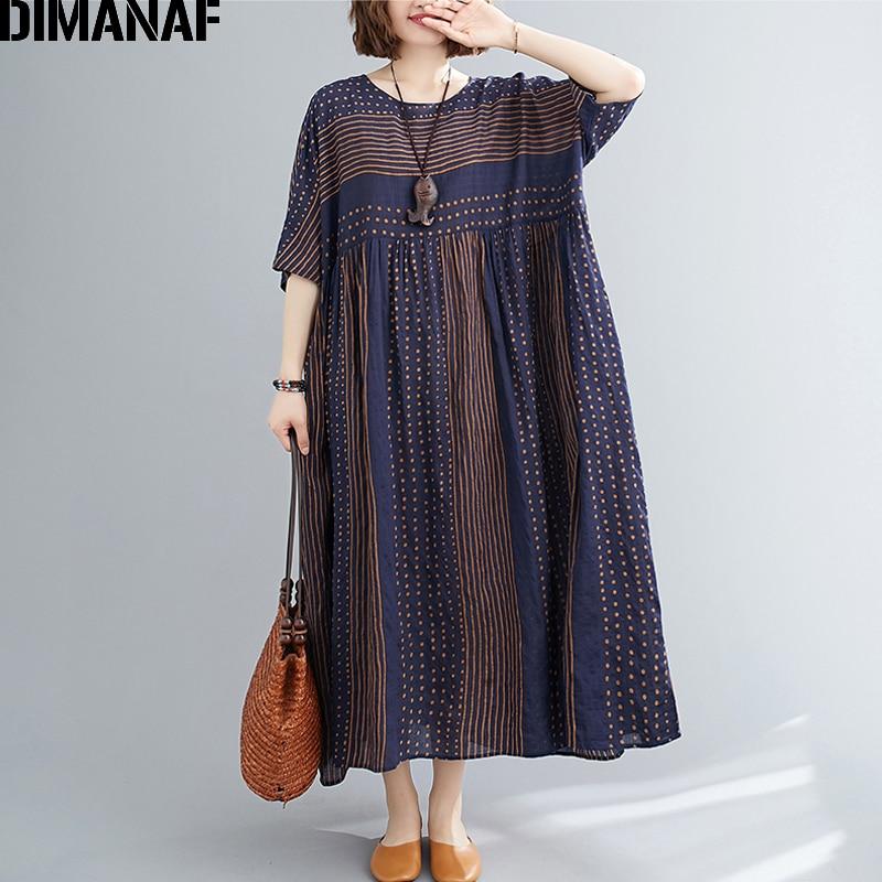 DIMANAF Summer Plus Size Dress Maxi Vintage Cotton Striped Print Women Clothing Elegant Lady Vestidos Sundress Loose Pleated 5XL