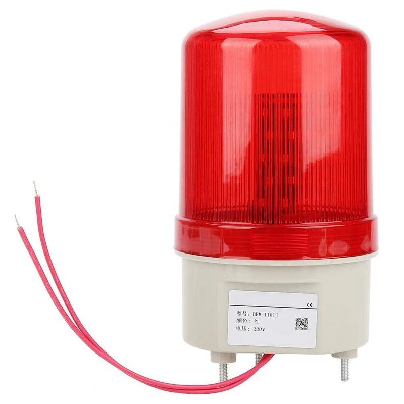 Hot 3C-Industrial Flashing Sound Alarm Light,BEM-1101J 220V Red LED Warning Lights Acousto-Optic Alarm System Rotating Light Eme