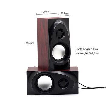 Wooden Desktop Speakers 3.5mm AUX Input USB Power Computer Speakers for Laptop Desktop Phone Audio Loudspeaker 6