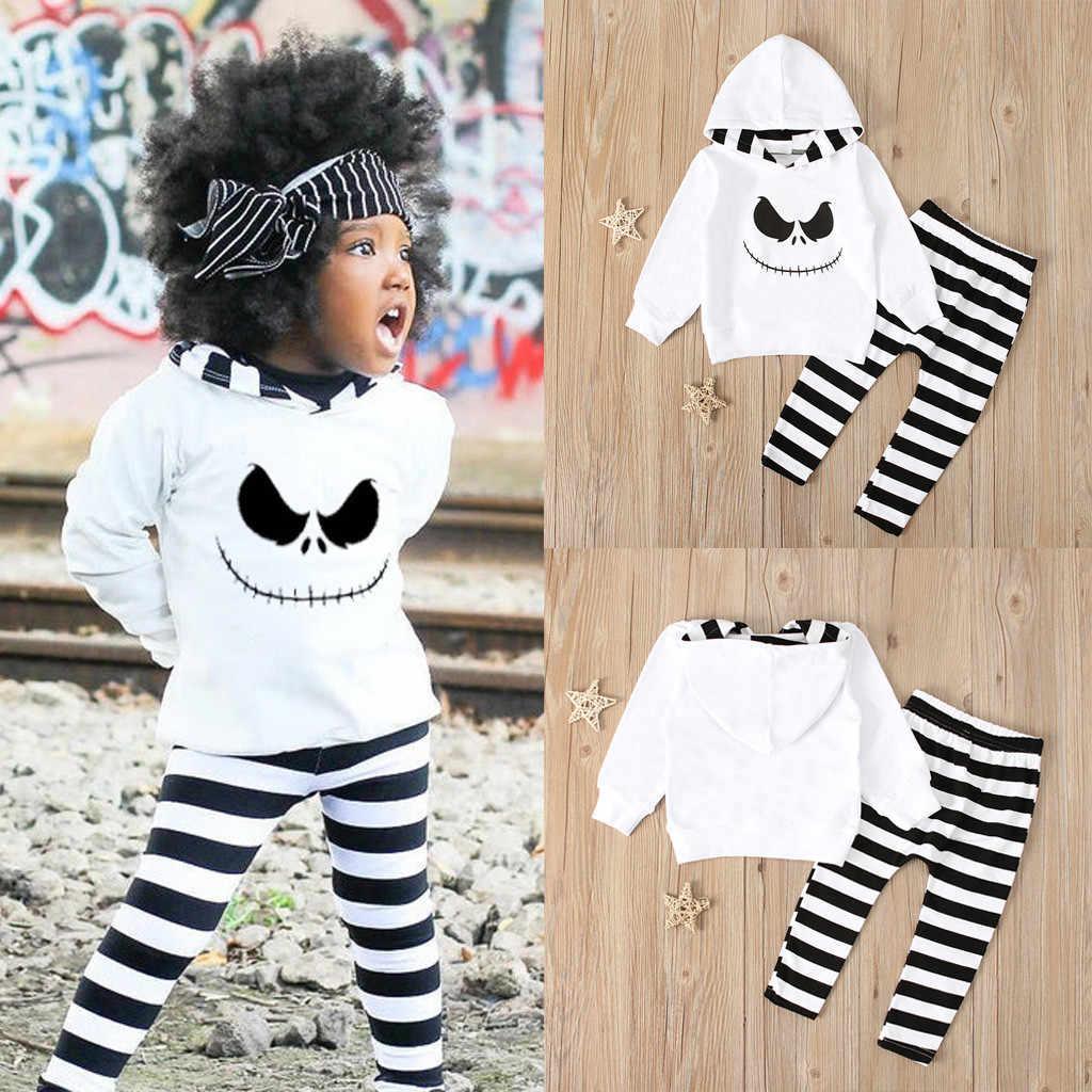 Pesadelo TELOTUNY Crianças Do Bebê das meninas dos meninos do Dia Das Bruxas conjunto Moletom Com Capuz Camisa + Calças Tarja Traje terno das crianças Roupas de Manga Longa ZA14