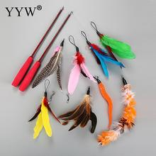 8pcs Feather Rod Play Pet Wand Teasing With Colored Beadsfunny Feather Spring Kitten Cat Toy Interactive Interactive Pet Toy цена