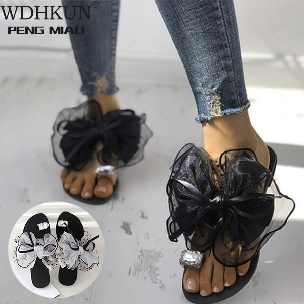 Sweet Bowtie Lace Floral Women Flats Slippers Fashion Crystal Rhinestone Girls Slides Outdoor Beach Shoes Plus Size 42