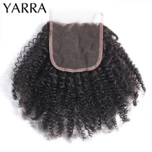 Afro Kinky Curly Closure 100% Human Hair Weave Afro Kinky Curly Closure Only Pre Plucked 4x4 Lace Closure with Baby Hair Yarra