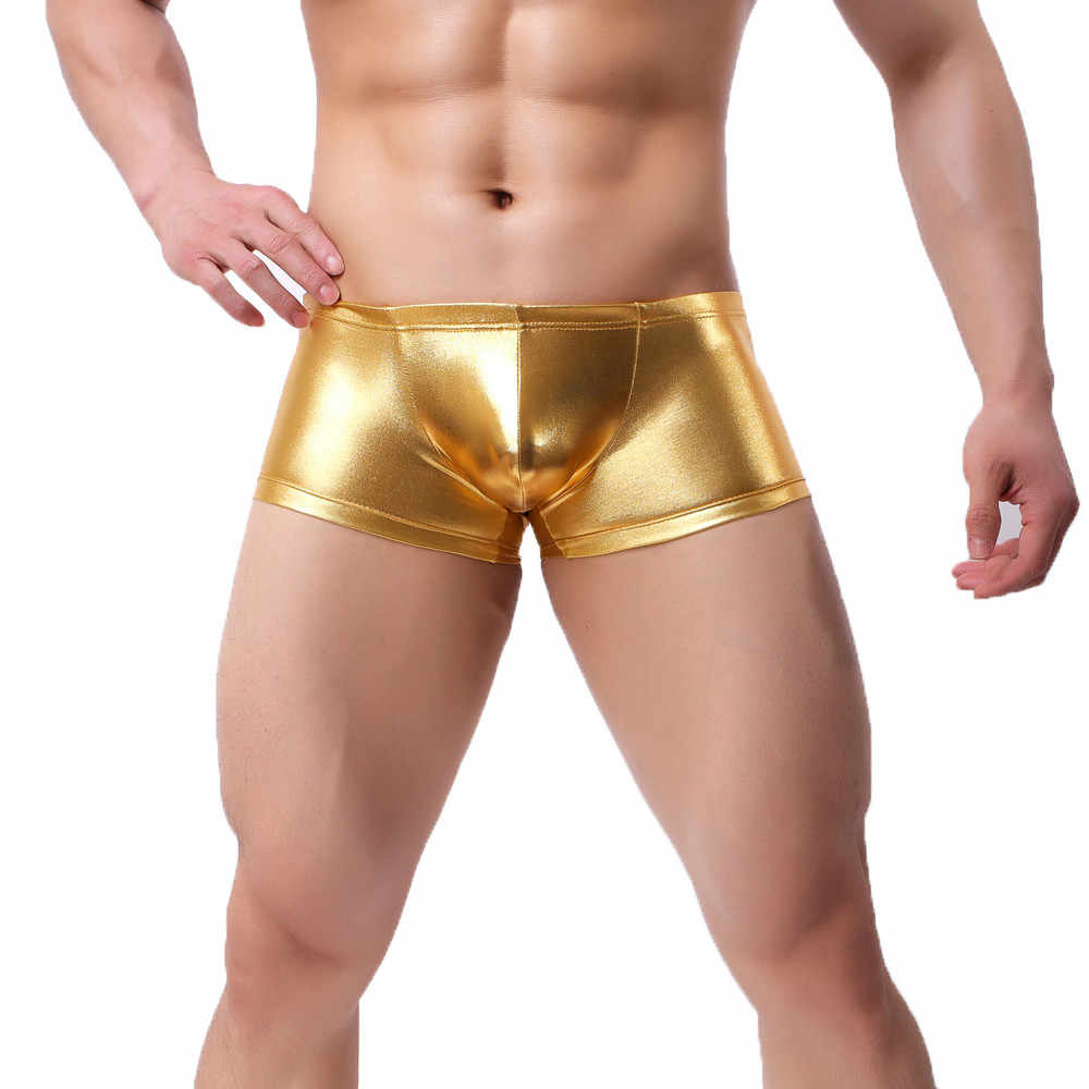 Mens shiny Color Boxer Underwear Men Shorts panties Beach Trunks Bulge Pouch Comfortable Home Soft Underwear cueca masculina new