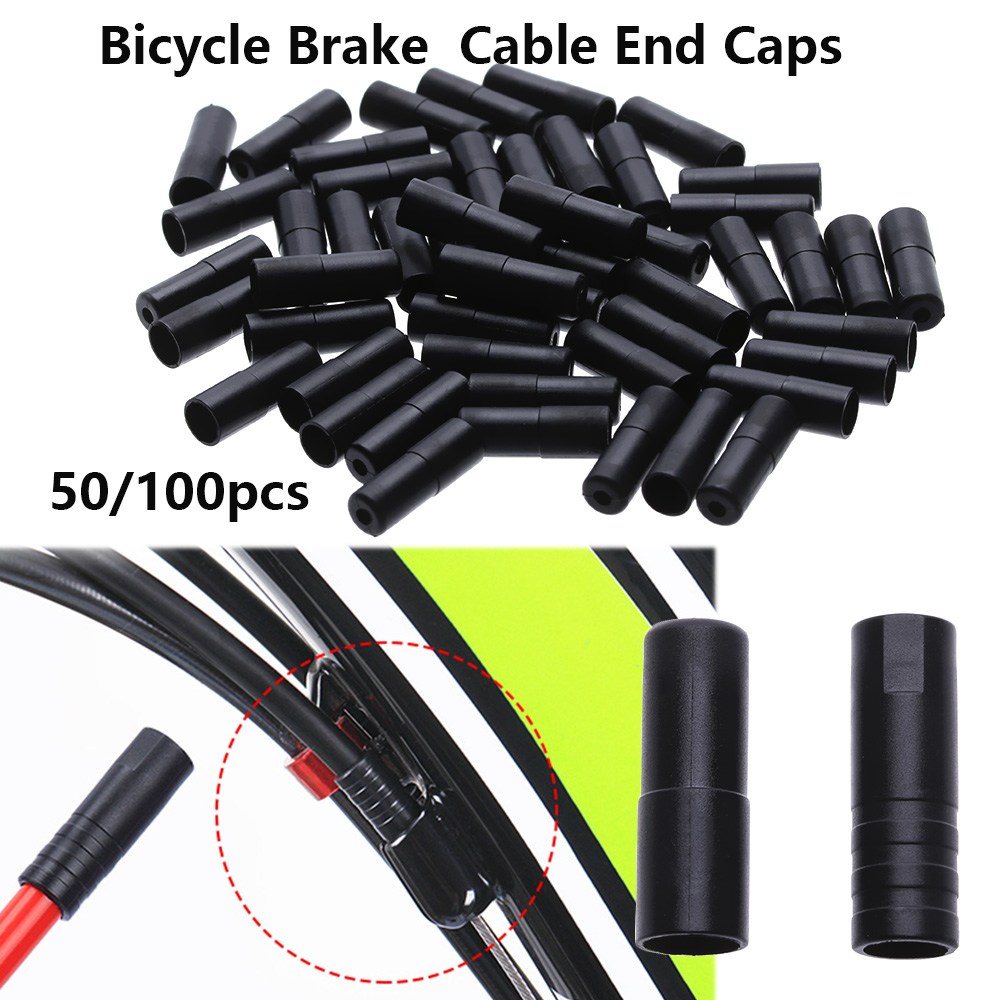 10 Pieces Bike Brake Cable Ends Caps Crimps Brake Cable Tips Black