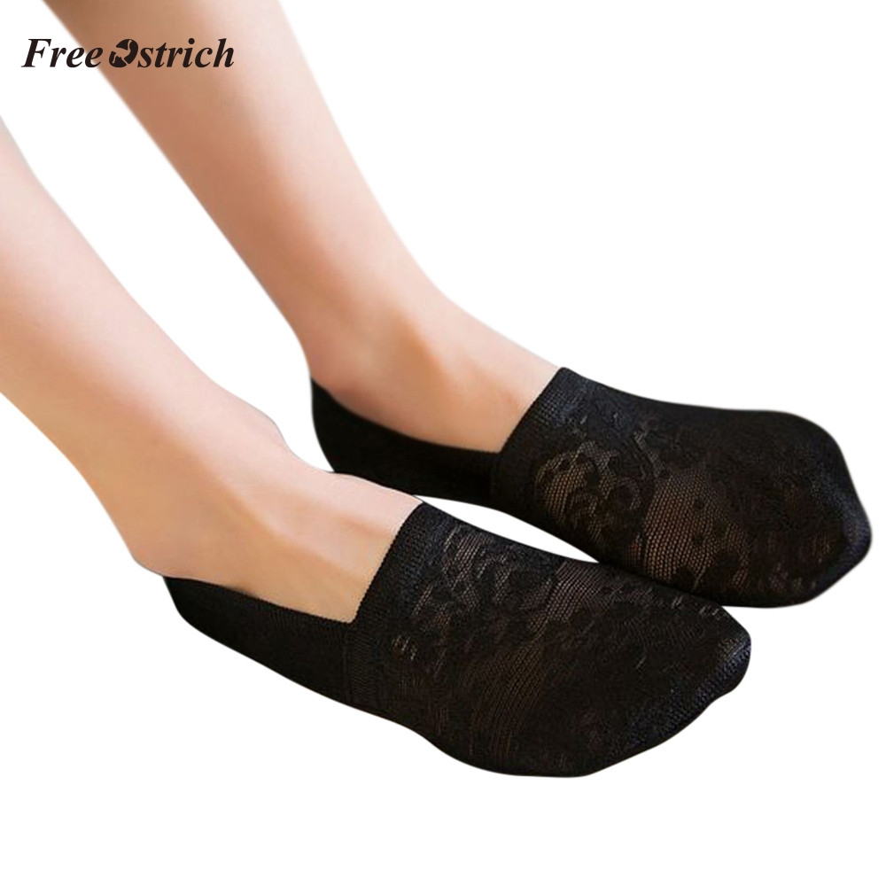 Free Ostrich Womens Cotton Lace Antiskid Invisible Liner Socks Elastic Comfy Female Summer Spring Ankle Boat Low Cut Short Socks