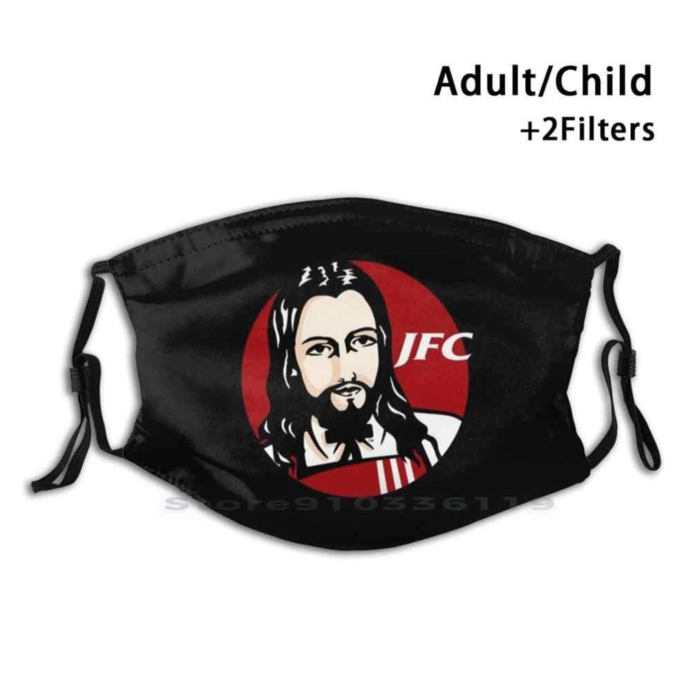 Многоразовая маска Jfc с принтом жареной курицы, фильтр Pm2.5, маска для лица, Детский логотип Sbubby, цыпленка Jfc, Иисус Христа, Иисус жареный