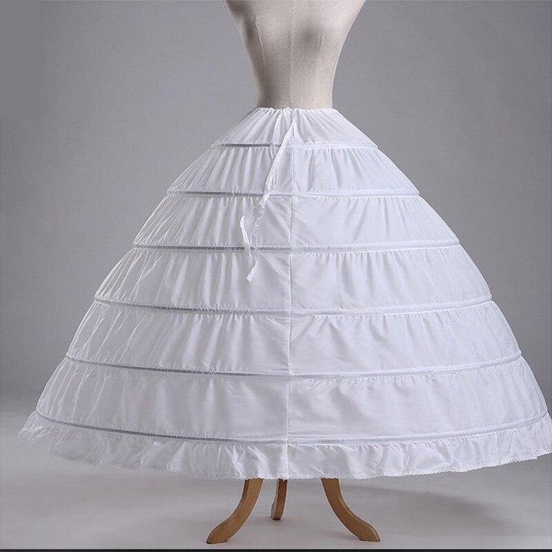 Long White Plus Size Women Crinoline 6 Hoops Organza Rockabilly Petticoat Underskirt Fluffy