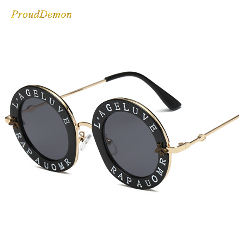 2020 New Fashion Round Metal Frame Sunglasses Men Women Vintage Sunglasses Bee Design Brand Designer UV400 Men