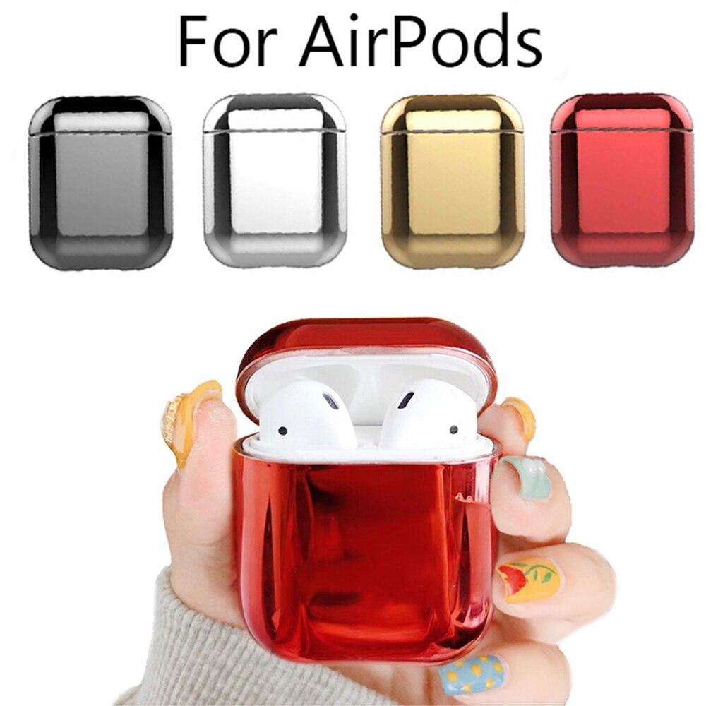 Vente en gros de luxe or pour Apple Airpods électroplaqué PC étui pour écouteurs couverture Anti-chute boîte pour Airpods 2 1 accessoires