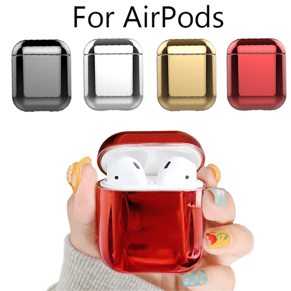 Wholesale Luxury Gold for Apple Airpods Electroplated PC Earphone Case Cover Anti-fall Box for Airpods 2 1 Accessories
