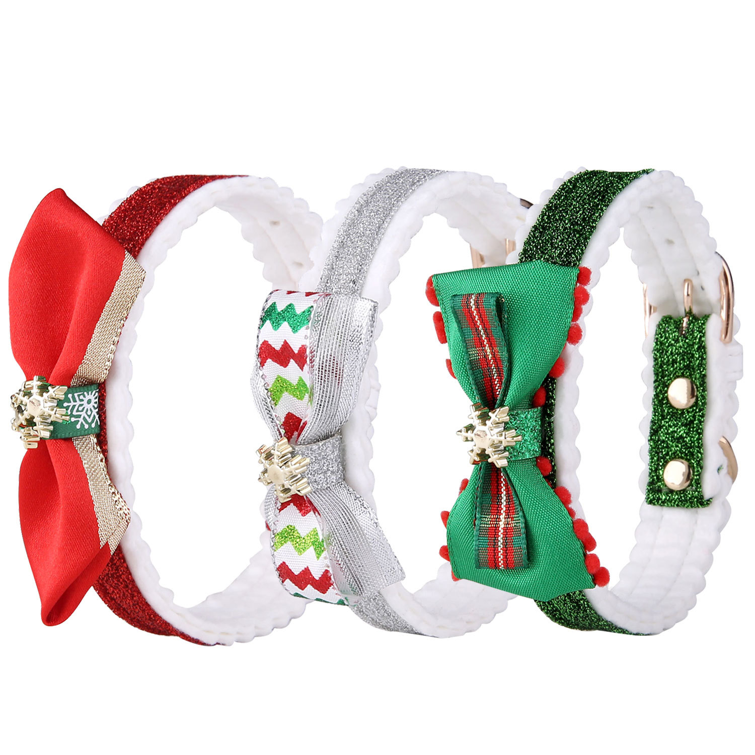 2019 Hot Selling Christmas Pet Collar Snowflake Large Bowtie Cat Dog Neck Ring