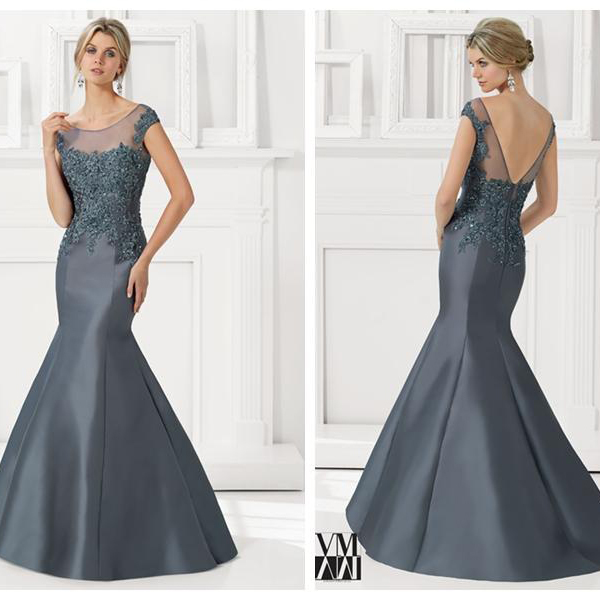 Vestido De Madrinha 2015 Sexy Backless Mermaid Mother Of The Bride Dresses Sky Blue Cap Sleeve Lace Appliques V Back Long Gown