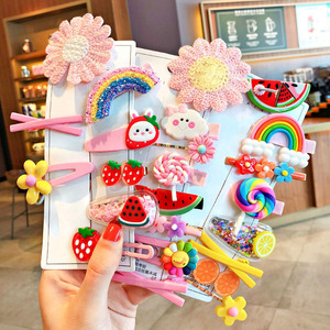 1Set Children Cute Cartoon Hairpins Girls Cloud Rainbow Flower Fruit Rubber Bands Hair Clips Children Headwear Accessories