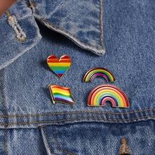 Brooches Jewelry Pins Badge Lesbian Lapel Pride Love-Is-Love-Rainbow-Pins Enamel Rose