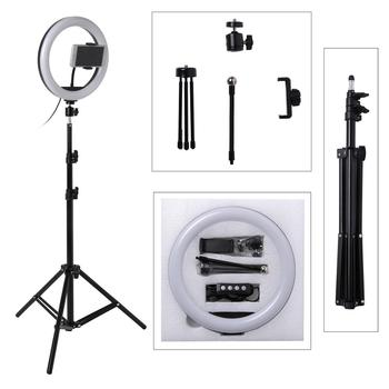 Zdjęcie LED Selfie pierścień światła wypełniającego 10 cal możliwość przyciemniania aparat telefon 26CM lampa pierścieniowa z stojak na statyw do makijażu wideo studio live tanie i dobre opinie Fotulato Bi-color 3200 K-5600 K