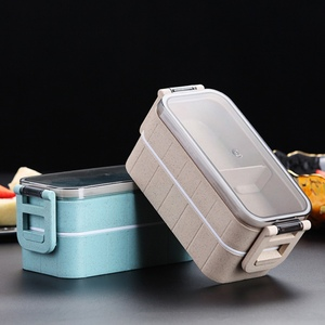 Japanese-style Healthy Lunch Box 2 Layer Microwave Bento Boxes Microwave Dinnerware Food Storage Container Lunchbox For Student