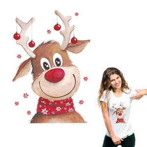 Christmas Deer Patches DIY Heat Transfer Stickers Parches Iron Appliques For Clothing Cute Gift For Festival Washable Stickers