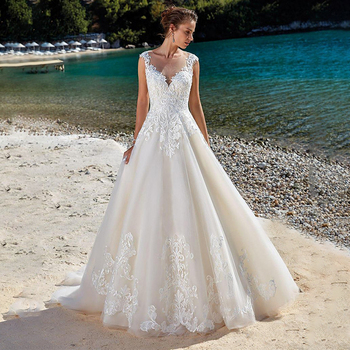 SoDigne Lace Wedding Dress Applique Sleeveless Illusion Beach dress vintage Bridal Gowns vestidos de novia Pluse size