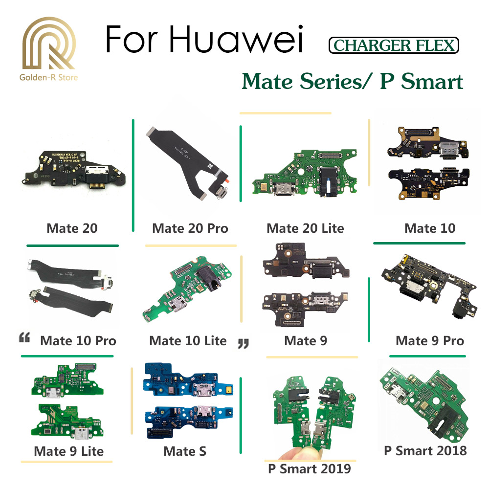 Golden-R Charging Port Connector Board Parts Flex Cable With Microphone Mic For HuaWei Mate S 20 10 9 Pro Lite P Smart Plus 2019