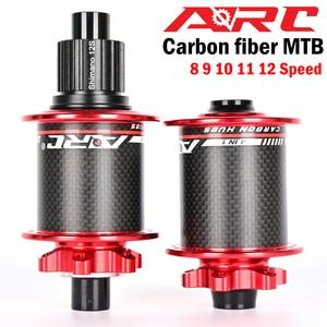 Image 2 - ARC Carbon Fiber MTB hub Mountain bike hub 4 bearing 6 Pawls 114 Click 8 9 10 11 12 speed bicycle hub 135*10MM 142*12MM 32 Holes