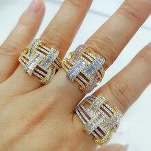 GODKI 2019 Trendy krzyż geometria cyrkonia stosy pierścienie dla kobiet pierścienie wisiorek z koralikami pierścień czeski biżuteria plażowa 2019