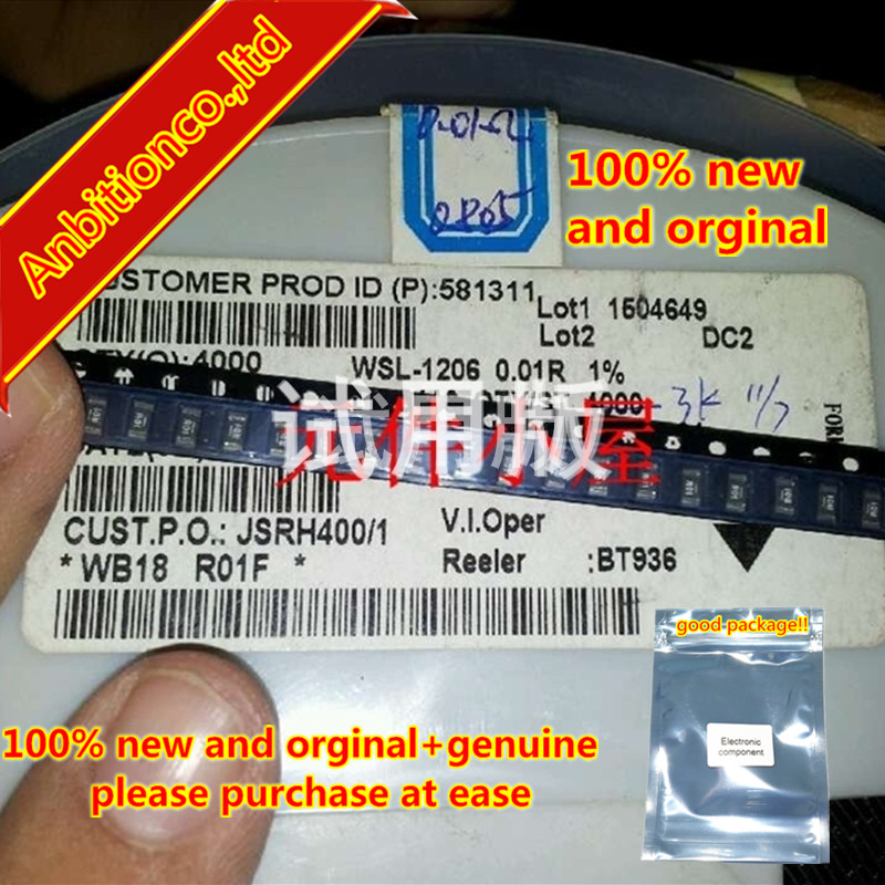 10pcs 100% New And Orginal DALE Alloy Resistor WSL1206R010F 1206-0.01R 10 Milliohms In Stock