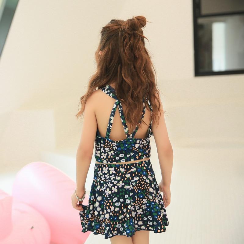 Haiyishan 2018 New Style KID'S Swimwear Floral-Print Split Skirt-Middle And Large Girls GIRL'S Students Hot Springs Tour Bathing