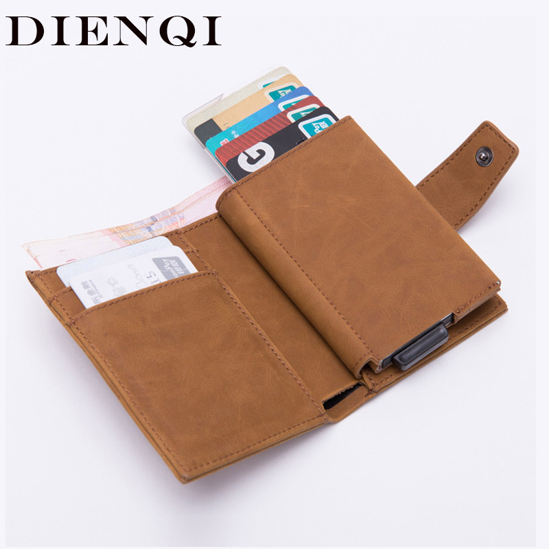 DIENQI Credit Card Holder Men Women Metal RFID Anti-magnetic Vintage Aluminium Crazy Horse PU Leather Card Wallet Coin Purses