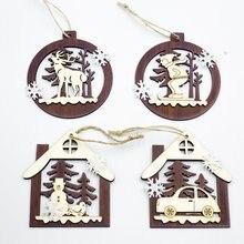 Новые рождественские украшения полый круглый деревянный кулон креативный шкаф Рождественская елка украшение кулон