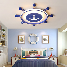 Creative Blue Rudder Modern led ceiling lights For Kid room study room children's room acrylic+iron ceiling lamp lampara techo retro ceiling lights nordic pipe wrought iron ceiling lamp for dining room bedroom deco led ceiling light loft lampara techo