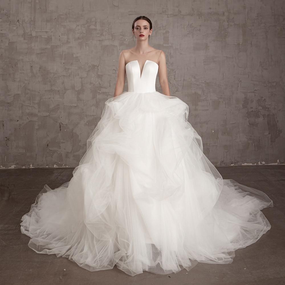 plus size Simlple Satin real photo 2020 new boho style V-neck flower A-line Bride wedding dress Vestido de noiva Bridal Gown