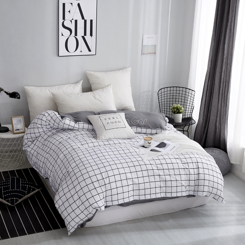 Home Textile White Plaid Duvet Cover With Zipper 1 Piece Modern Comforter/Quilt/Blanket Case For Adult Kids Twin Full Queen King