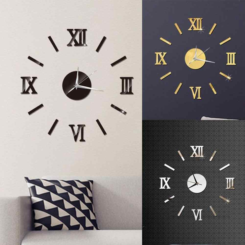 Plastic Mirror Surface Number 3D Wall Clock Stickers Hanging Clock Wall Sticker  Wall Decor Living Home Decor Room Office