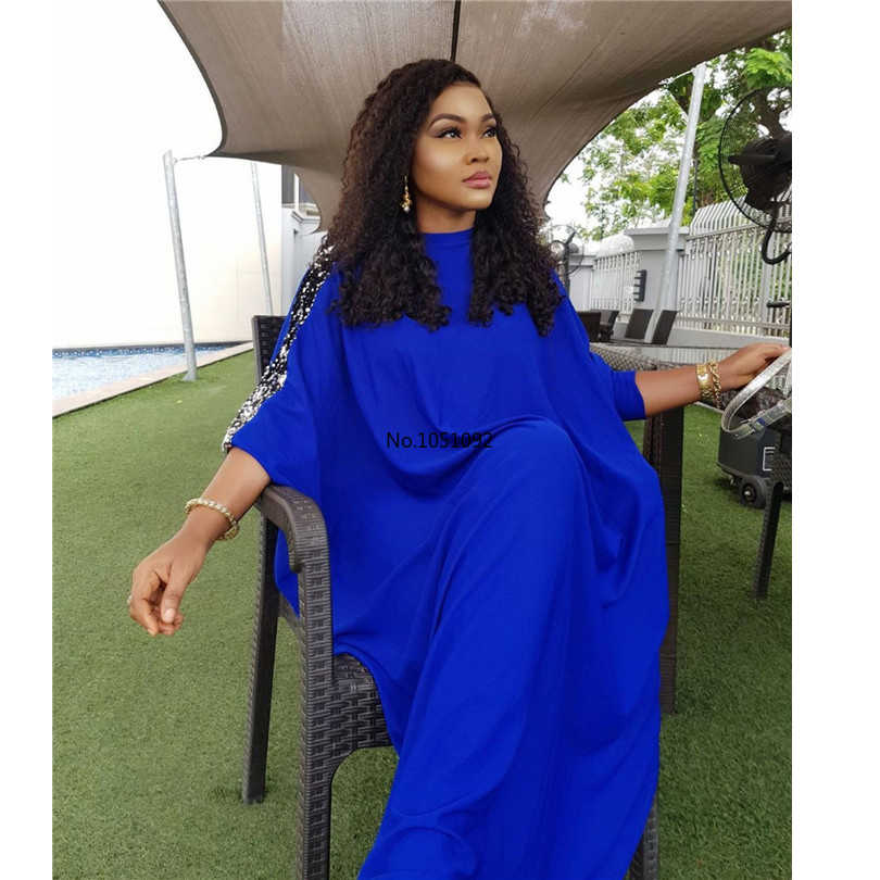 Novedad en ropa de estilo clásico africano para mujer, vestidos Dashiki holgados de lentejuelas a la moda, talla grande L XL XXL XXXL