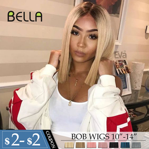 "BELLA Synthetic Short Wig Straight Hair Short Synthetic Lace Front Wig Shoulders 10""-14"" BOB Wigs Blonde Pink Blue Cosplay Hair(China)"