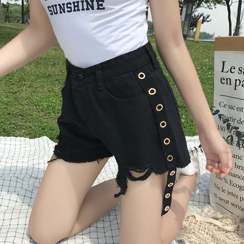 2019 Summer Women's Shorts Fringed Edging Black High Waist Denim Shorts Pockets Female Loose Ring Streamers Wide Leg Hot Shorts