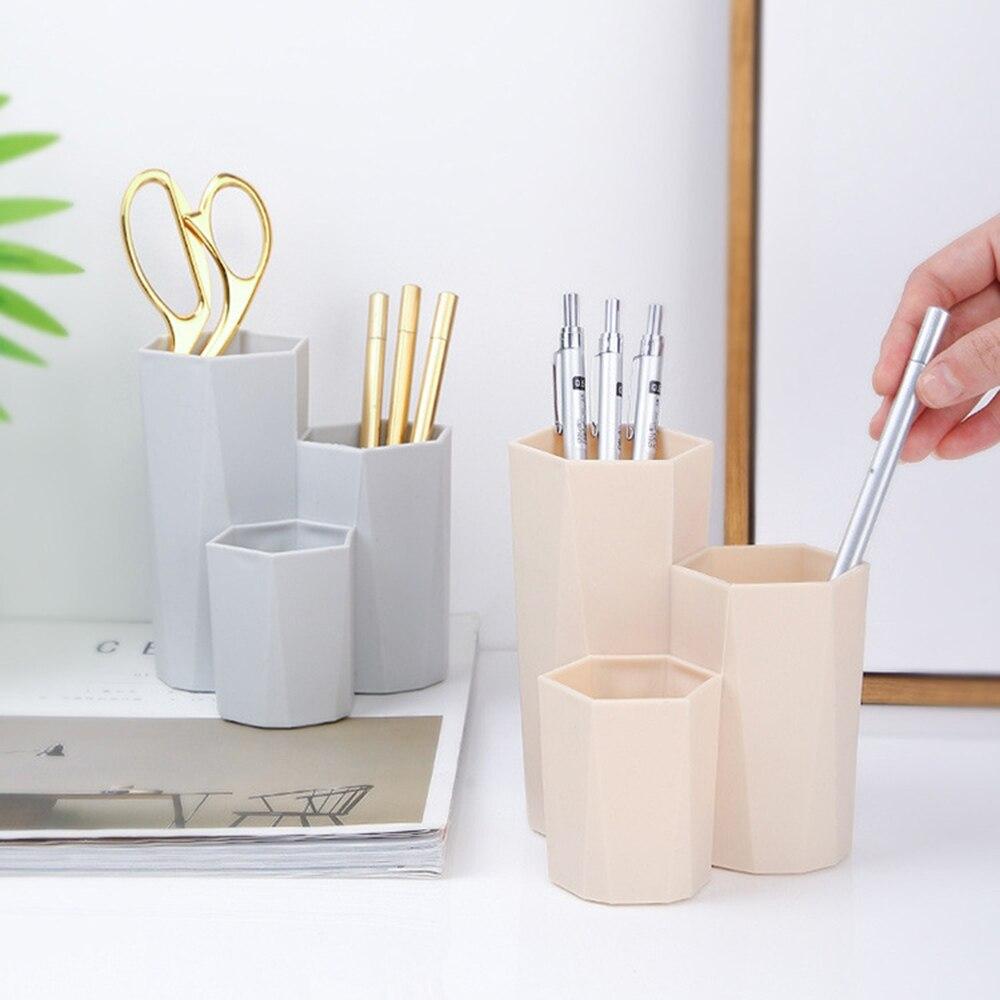 3 Lattices Cosmetics Organizer Nail Polish Makeup Tools Pen Holder Rack Jewelry Brush Storage Case Office Desk Organizer