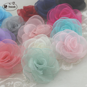 18Color Glass yarn rose flower Hair accessory hair clip accessories Diy hairpin material Korean burned snow yarn Camellia RS161(China)