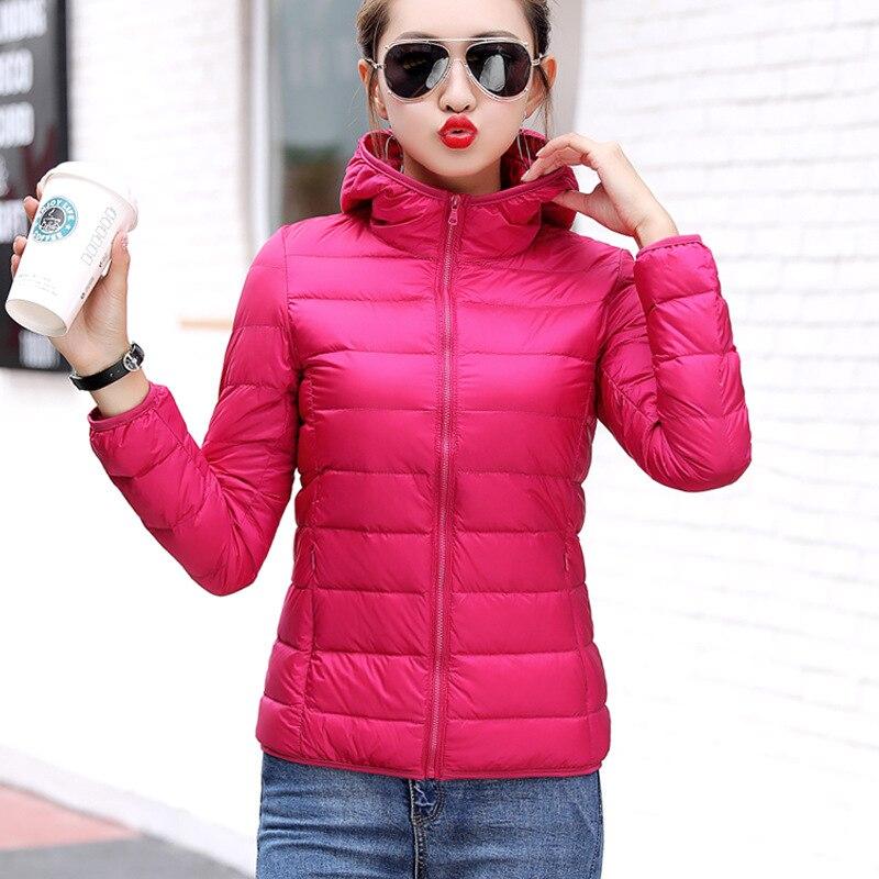 Hooded Jackets Warm Parka Slim 2019 Plus Size Female Coat Outwear White Duck Down Filling Winter Women Light Down Jacket GLL14