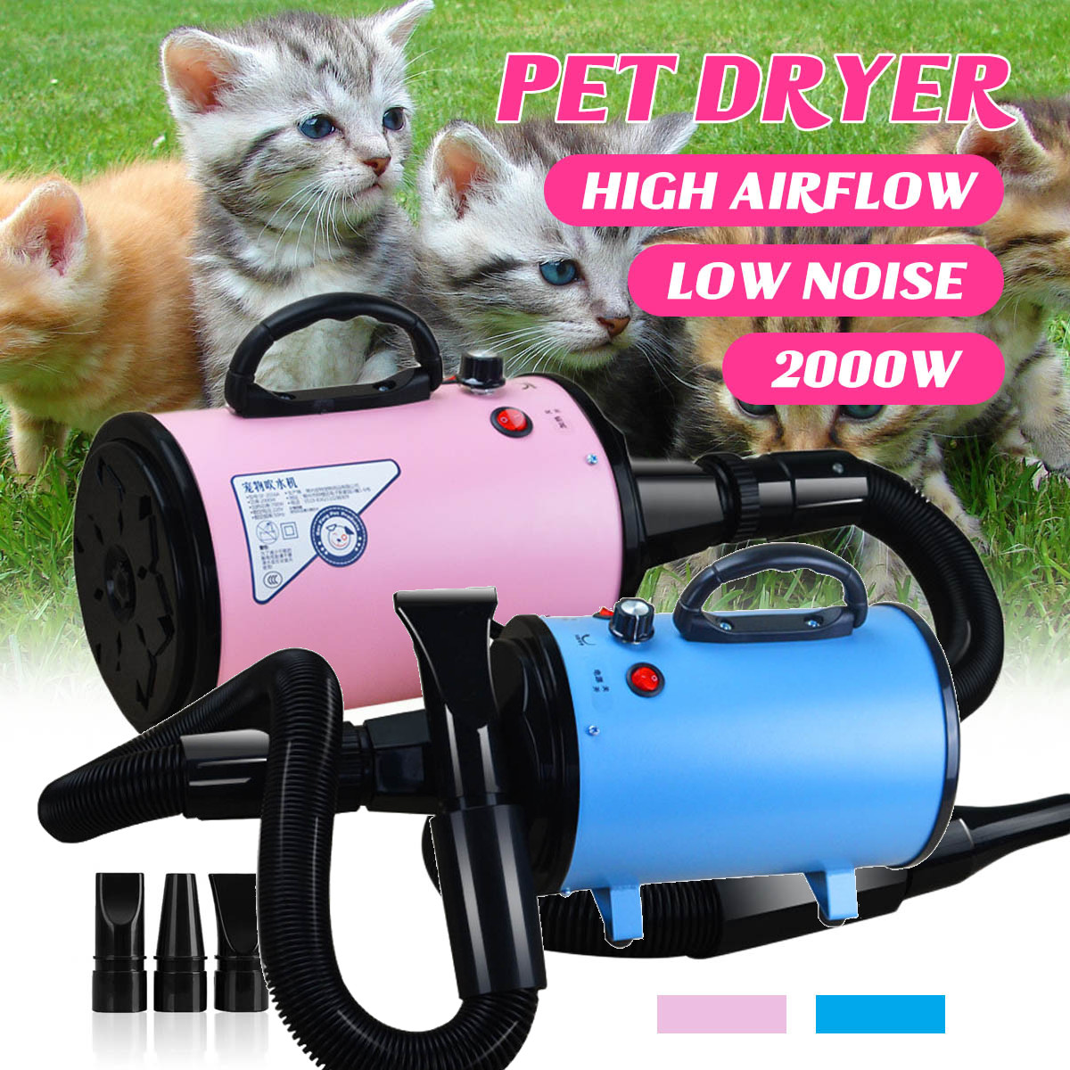 2000W 220V 240V Dryer Blower Variable Speed Portable Dog Cat font b Pet b font Blow